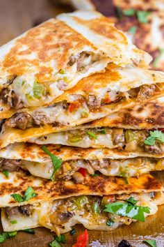 Philly Cheesesteak Quesadillas are filled with beef and melted cheese in a toasted tortilla. An easy, make-ahead quesadilla recipe done in under 30 minutes. Mexican Dishes, Mexican Food Recipes, Beef Recipes, Chicken Recipes, Dinner Recipes, Cooking Recipes, Tortilla Recipes, Cooking Tips, Easy Recipes