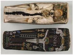 """Miniature coffin--done in sable work--miniature beadwork--containing a miniature corpse with wax head and hands, dressed in correct burial clothing. It dates from 1681 The museum says that """"Miniature table caskets served as symbols of transience and kept alive the memory of the dead."""""""