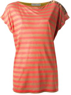 Beige and coral silk and cashmere blend striped t-shirt from Tsumori Chisato featuring a boat neck, short sleeves and beige buttons on the shoulders.