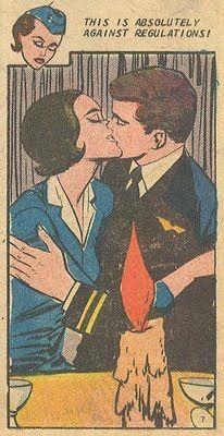 "Against Regulations ~ Vintage stewardess handbook illustration showing 'A Don't.' ~ ""Rendevous on Cloud 9"" from Career Girl Romances #47."
