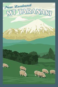 Mt Taranaki New Zealand - Vintage Travel Poster New Zealand Landscape, Tourism Poster, New Zealand Travel, Mexico Travel, Spain Travel, Kiwiana, Vintage Travel Posters, Vintage Ski, Beach Trip