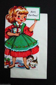 F50 Vintage Unused Xmas Greeting Card Die Cut Girl with Gift Cute Kitten | eBay