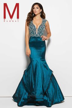 Be one of a kind and stand out from the crowd in this gorgeous prom dress that will have everyone talking at your next social occasion. With features of vintage beauty throughout this entire dress, the form-fitting bodice is completely decorated with colorful stones, sequins, and heat-set rhinestones. From glittering bodice, the lovely stretch taffeta skirt hugs your amazing curves and the horse hair trimmed layers fall into a flowing sweep train at the bottom.   - USA Prom D