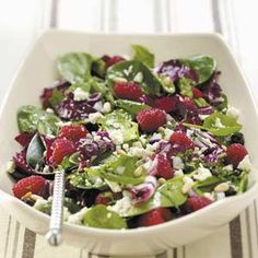 Radicchio-Spinach Salad with chipotle peppers, mint, raspberry, pine nuts, feta.... complicated mix of flavors but I bet I would like it.