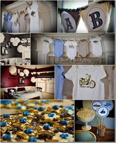 Baby Boy Shower. Onesie banner with paper plates BABY