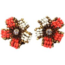Signed Miriam Haskell Orange & White Glass Seed Beads Earrings