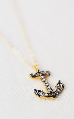 Poa necklace gold diamond anchor