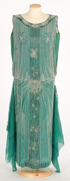 Evening Dress: ca. 1925-1930, crepe silk, beads and other applications.