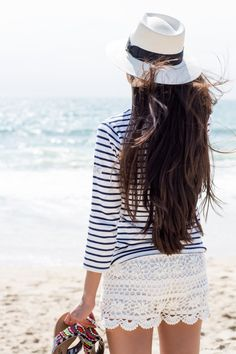 Crochet shorts, stripes and hat