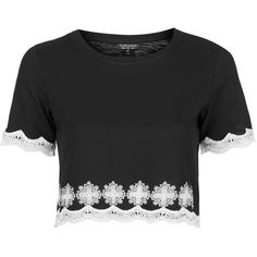 TopShop Daisy Crop Tee (125 PLN) ❤ liked on Polyvore featuring tops, t-shirts, black, embroidery t shirts, crop top, embroidered cotton top, cotton t shirt and topshop tops