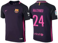 d1e79ad045e Barcelona  24 Jeremy Mathieu 2016-17 Away Jersey Messi 2016