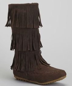 Chocolate Triple-Tier Fringe Boot by Shoes of Soul #zulily #zulilyfinds