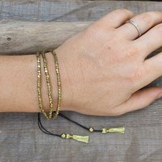 Unique Gold Beaded Tassel BraceletBoho Brass Tassel by artjuna
