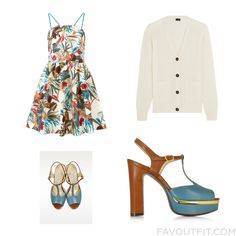 Closet Things Including Im Isola Marras Dress Ivory Top Lautre Chose Sandals And Blue Sandals From April 2016 #outfit #look