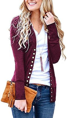 5282b3923af Steven McQueen Women s Solid Button Front Knitwears Long Sleeve Casual  Cardigans Plum M at Amazon Women s