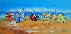 Tableau Design 3D - Plage de parasols- peintures-axelle-bosler : Peintures par peintures-axelle-bosler