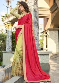 IVimal Elegant Beige Colored Embroidered Satin Net Chiffon Festive Saree - 97061