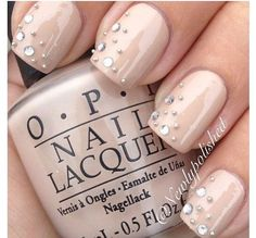 (via Nude manicure with a little bling. Perfect wedding manicure | ♥ neutral zone ♥)