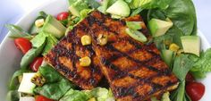 Chipotle BBQ Tofu Salad-For a meat-free meal on the barbie, grill tofu cutlets brushed with BBQ sauce and serve over fresh greens and chopped veggies. A grill pan would also work to sizzle the tofu pieces.