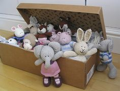 Box of little cotton rabbits with cute girl elephant. Knitted Stuffed Animals, Knitted Bunnies, Bunny Rabbits, Pet Toys, Baby Toys, Crochet Toys, Knit Crochet, Little Cotton Rabbits, Original Design