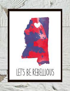 University of Mississippi Ole Miss Rebels Print by CraftandCandor, $12.00