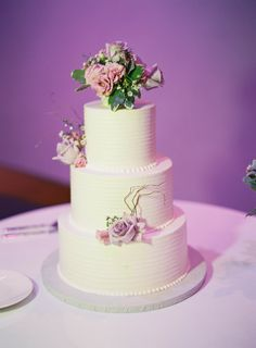 a beautiful cake for a winter purple wedding. via:the projectwedding
