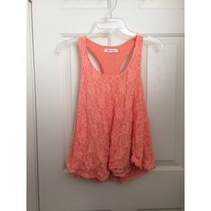 Coral lace tank top Coral lace racerback tank top   No trades or Paypal ✅ Bundles are welcome   Fast shipping  Make me an offer below Forever 21 Tops Tank Tops