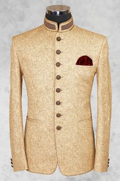 Cream Fawn Prince Suit Shameel Khan is part of Wedding dress men - Cream fawn prince suit with brown texture and classy buttons on front will give you more elegant look was last modified June 2018 by khurram Nigerian Men Fashion, Indian Men Fashion, Mens Fashion Suits, Mens Suits, Wedding Dress Men, Wedding Suits, Prince Suit, Indian Groom Wear, Mens Kurta Designs