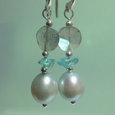 Grey Freshwater Pearl Labradorite and Apatite by kauainanidesigns, $28.00