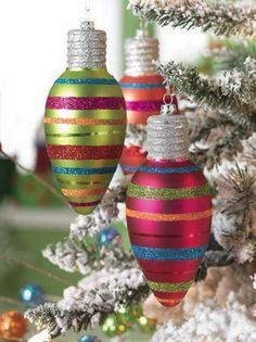 "Striped Light Bulb Styled Christmas Ornament    RAZ Imports ""Winter Twinkle"""