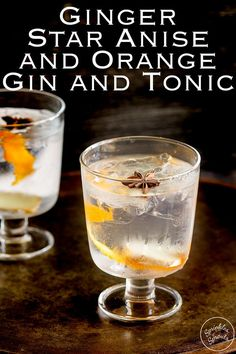 Try this Ginger Star Anise and Orange Gin and Tonic at your next party or gathering. The warmth of fresh ginger and star anise mixed with sweet orange makes this unusual gin and tonic something special.Recipe from Sprinkles and Sprouts Gin Recipes, Gin Cocktail Recipes, Cocktail Party Food, Party Drinks, Fun Drinks, Yummy Drinks, Delicious Recipes, Yummy Food, Party Recipes