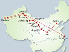 silk road route, through Gansu and Xinjiang