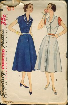 Simplicity 4281; ©1953; Misses' and Women's One-Piece Dress