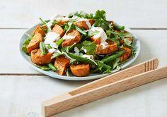 Roasted Kumara and Rocket Salad recipe - Easy Countdown Recipes Healthy Sides, Healthy Options, Rocket Salad, Lemon Green Beans, Green Bean Salads, Easy Salad Recipes, Caprese Salad, Quick Meals, Gluten Free Recipes
