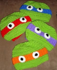 All 4 Hats Included Crochet  Ninja Turtle Hats 6-12m, 18-24m, 2t-3t, 4-6-8, Teen and Adult. $50.00, via Etsy.