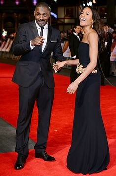Idris Elba and costar Naomie Harris are impossibly gorgeous — and in a great mood! -- at the London premiere of Mandela: Long Walk to Freedom.
