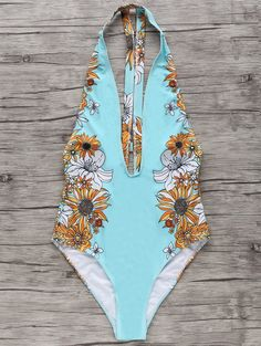Floral One-Piece Plunge Swimsuit LIGHT BLUE: One-Pieces | ZAFUL