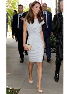 Kate Middleton on Day 2 of Canada Tour - Duchess of Cambridge in Gray Catherine Walker Dress - Harpers BAZAAR