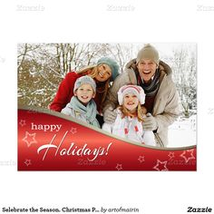 Happy Holidays. Elegant Festive Design Christmas Holiday Party Invitations / Christmas Photo Cards with personalized photo and text. Matching cards, postage stamps and other products available in the Christmas & New Year Category of the artofmairin store at zazzle.com