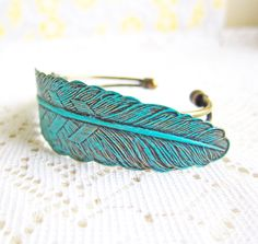 Patina Bangle Feather Bracelet Mint Green Aqua Blue Leaf Feather Antique Brass Bracelet Bangle  via Etsy.