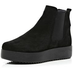 River Island Black Flatform Chelsea Boots ($63) ❤ liked on Polyvore