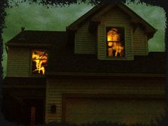 Could easily cover windows in black construction paper and cut out scary images!!