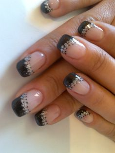 black tip nails! Party nails! Perfect for our girls going out- night!