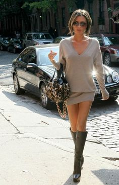inspiration for sweater with mini skirt and boots.