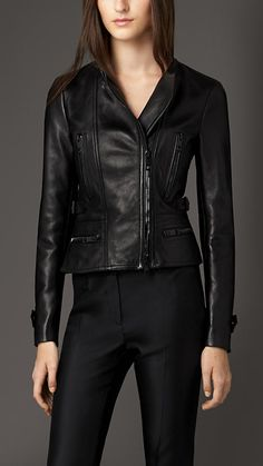 Black Nappa Leather Biker Jacket BURBERRY