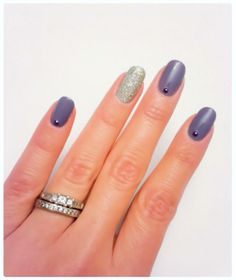 """Zoya """"Caitlin"""" and """"Cosmo."""" Pixie dust, nail studs, purple and silver nails."""