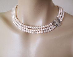 Pink Pearl Necklace Bridal Pearl Necklace by aynurdereli on Etsy, $34.00