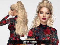 Veronica Retexture by RedheadSims Sims 4 Curly Hair, Sims Hair, Curly Hair Styles, Sims 4 Teen, Sims Cc, Maxis, Sims 4 Black Hair, The Sims 4 Cabelos, Pelo Sims
