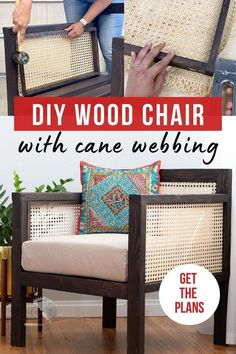 Learn how to make a DIY wooden chair with cane webbing back and arms with the step-by-step tutorial and plans. This DIY armchair makes the perfect addition to any living room. #canewebbing…