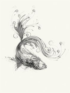 a very ink-able fish design, looks more like a betta, but could be adapted to any other fish